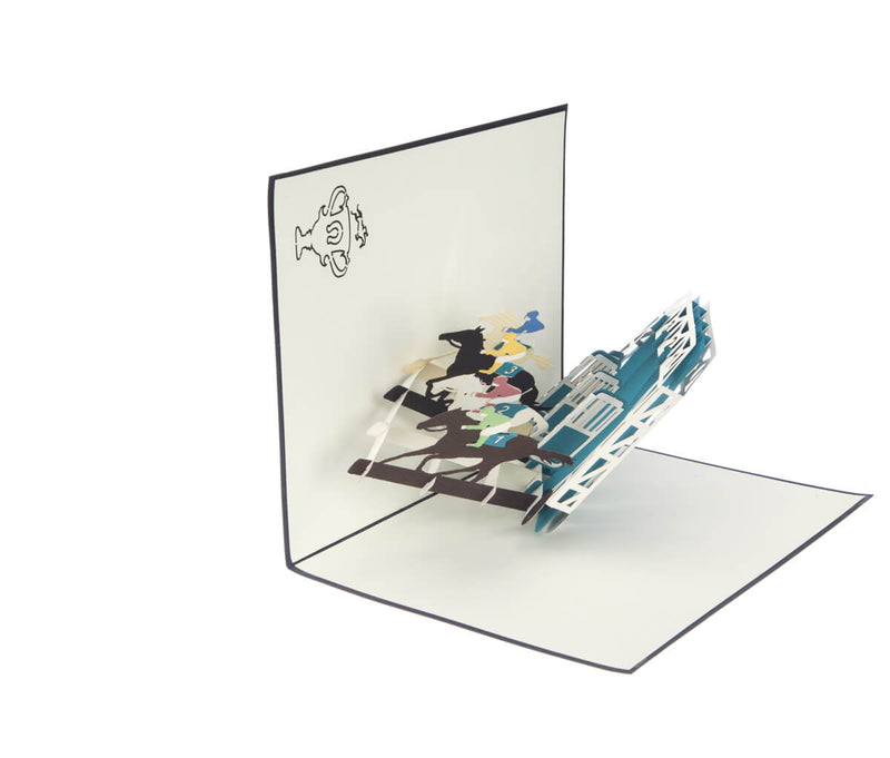 Horse Racing Pop Up Card featuring 4 horses racing out of stalls, half open at 90 degrees