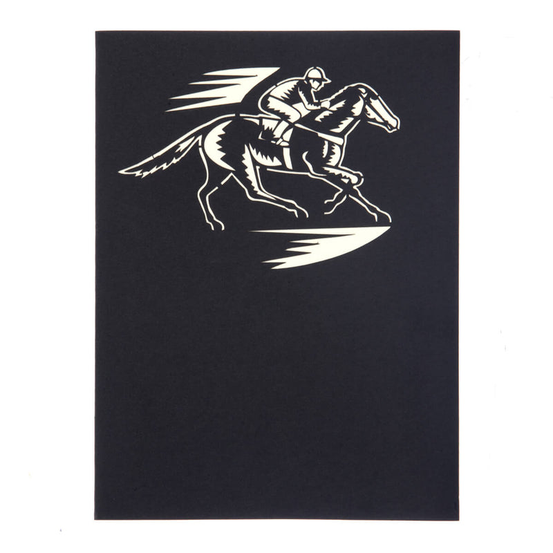 Horse Racing Pop Up Card cover in black with a white image of a jockey on a race horse