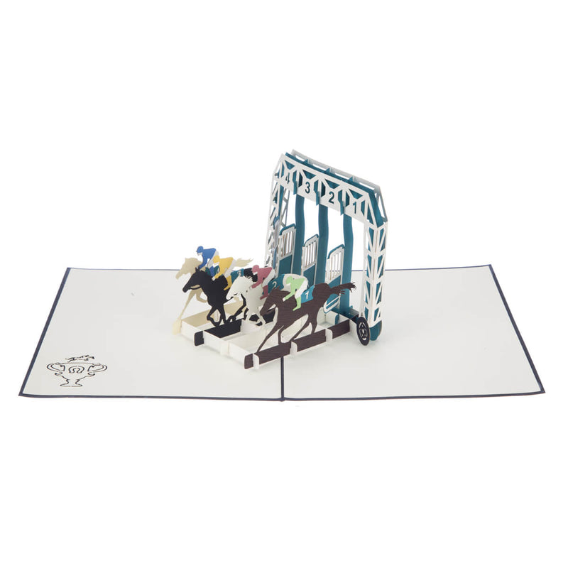 Horse Racing Pop Up Card featuring 4 horses racing out of stalls, fully open