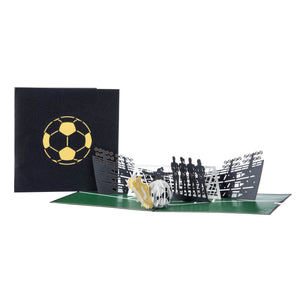 image of womens football pop up birthday card open fully with black cover behind on a white background