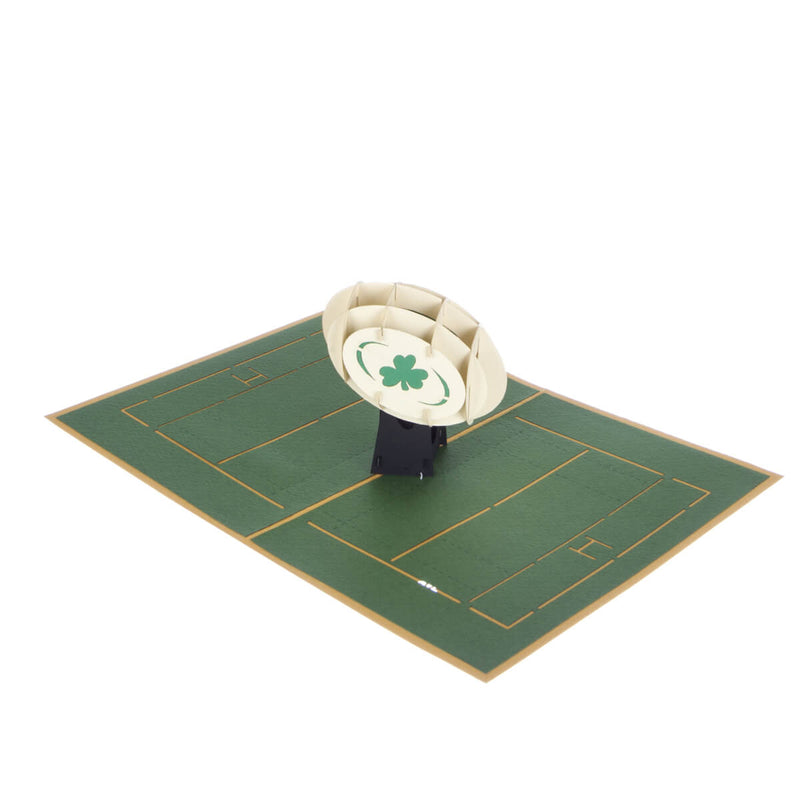 image of Irish Rugby Pop Up Card fully open at 180 degrees on a white background