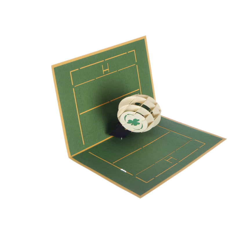 image of Irish Rugby Pop Up Card half open at 90 degrees on a white background