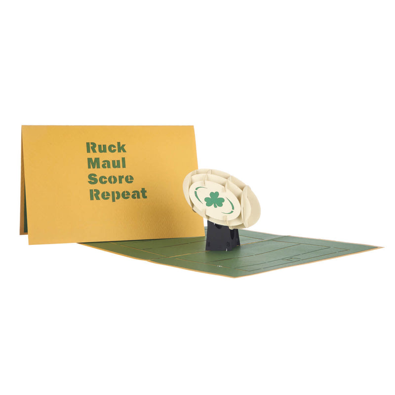 image of Irish Rugby Pop Up Card fully open with yellow cover behind