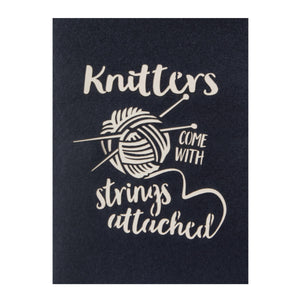 Close up image of Knitting Pop Up Card black cover which reads