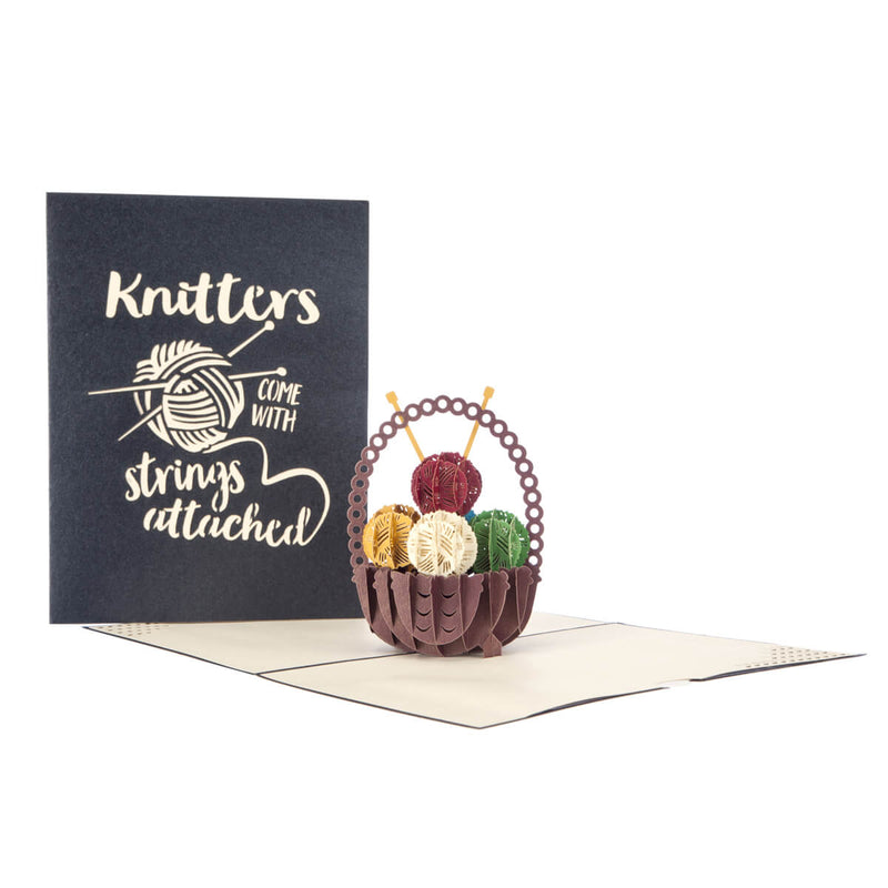 Image of Knitting Pop Up Card fully open with cover behind