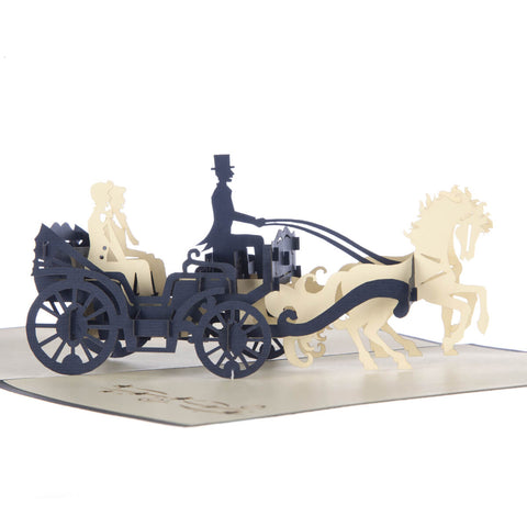 Grooms Carriage Pop Up Card