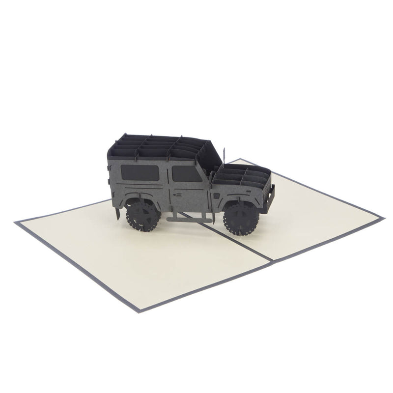 Land Rover Pop Up Card for car enthusiasts, fully open at 180 degrees