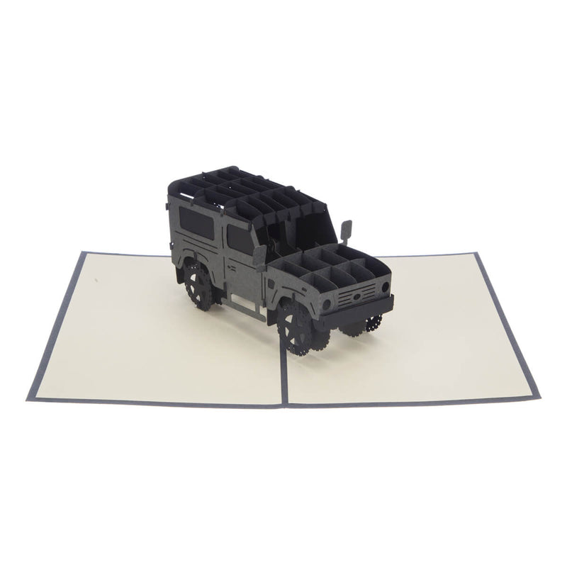 Land Rover Birthday 3D Card fully open