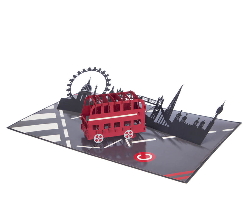 London Bus 3D Card fully open at 180 degrees