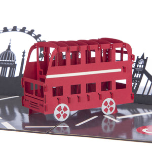 London Bus with London skyline 3D Pop Up Card