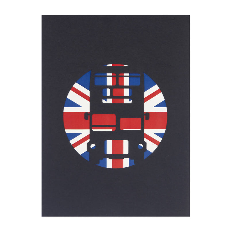 London Bus Pop Up Card Black Cover with union jack and bus silhouette