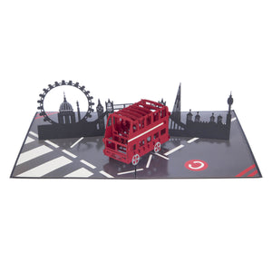 London Bus 3D souvenir card fully open at 180 degrees