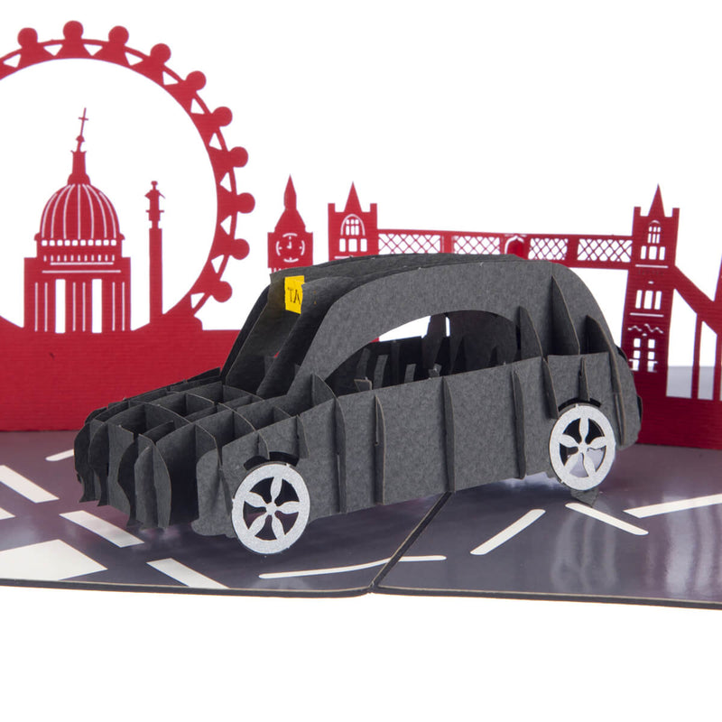 London Black Taxi souvenir 3D Card close up image with red london skyline