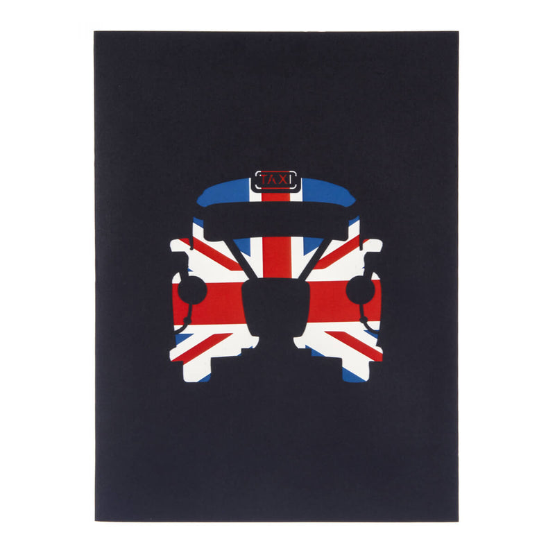 London Taxi souvenir 3D Card Cover with union jack taxi silhouette