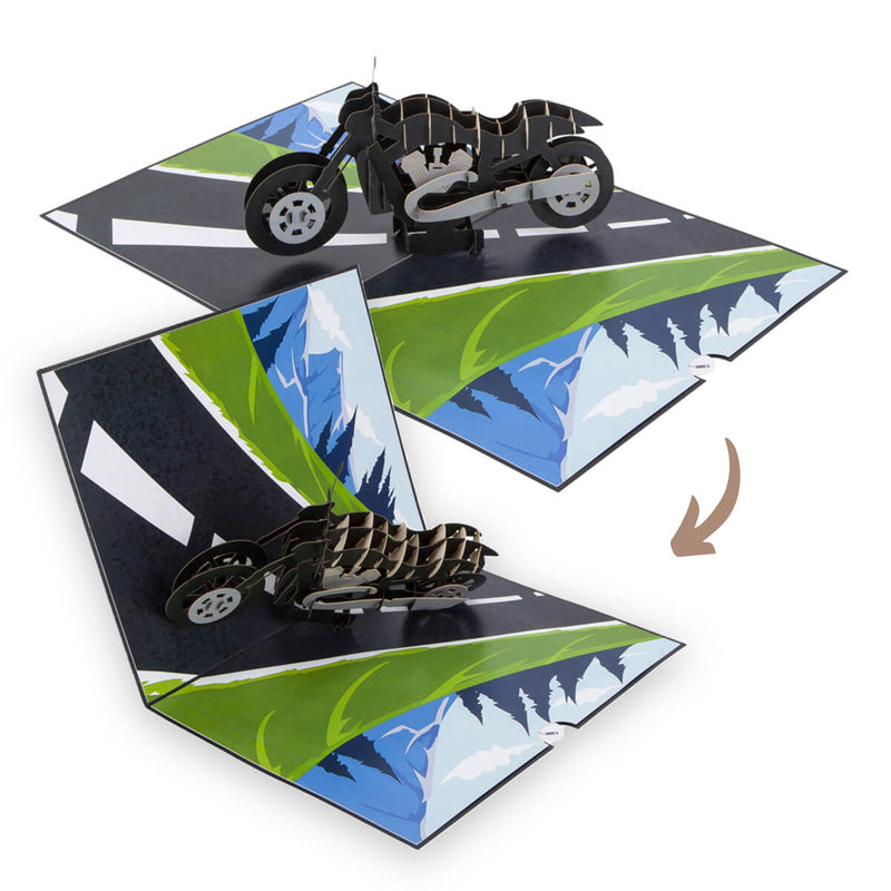 Harley Davidson Motorbike Pop Up Card - Image Of Motorbike Pop Up Card Closing