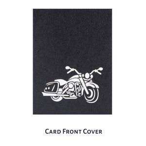 Harley Davidson Motorbike Pop Up Card - Black Cover With Laser Cut Image Of Motorbike On Cover