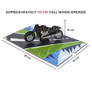 Harley Davidson Motorbike Pop Up Card - Dimensions Image - Pop Up Is Approximately 10cm high