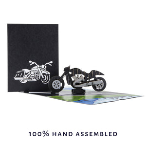 Harley Davidson Motorbike Pop Up Birthday Card - Perfect For Fathers Day Card - image of card open with cover image behind it