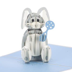 Close up image of new baby boy bunny pop up card