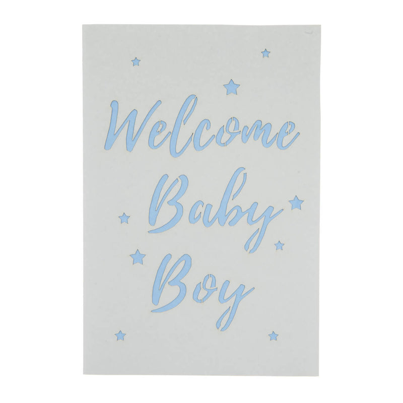 new baby boy bunny pop up card cover which reads