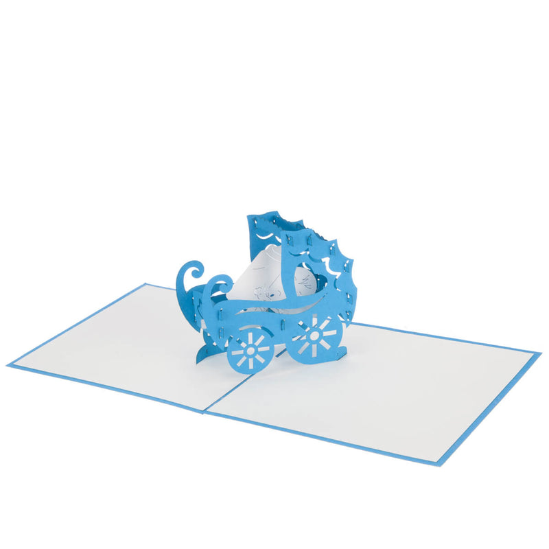 new baby boy in a blue pram pop up card fully open at 180 degrees