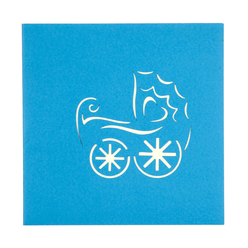new baby boy pop up card blue cover with an image of a pram laser cut onto cover