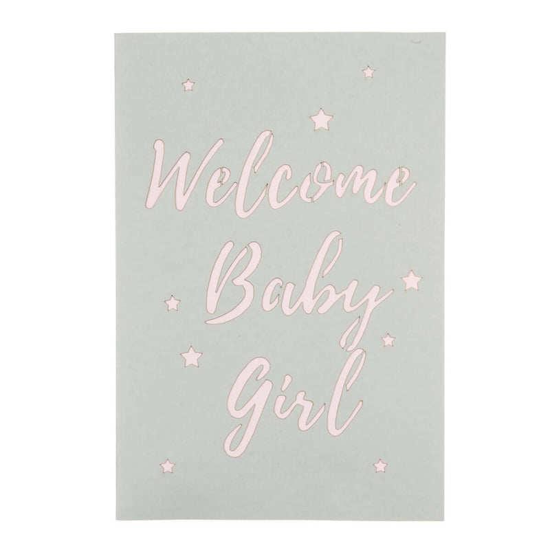 new baby girl pop up card cover which reads