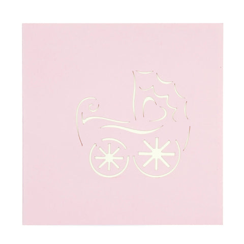 Baby Girl in Pram Pop Up Card