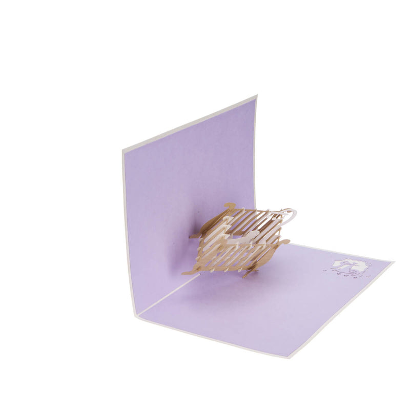 new baby congratulations pop up card half open 90 degrees