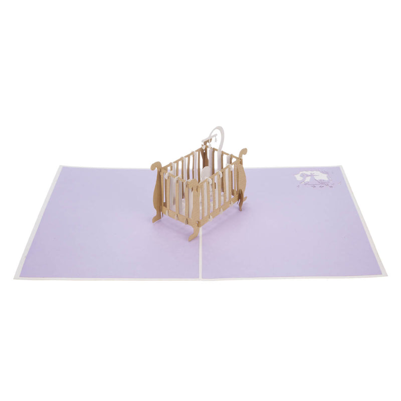 new baby congratulations pop up card fully open