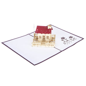 image of new home congratulations pop up card fully open at 180 degrees on a white background