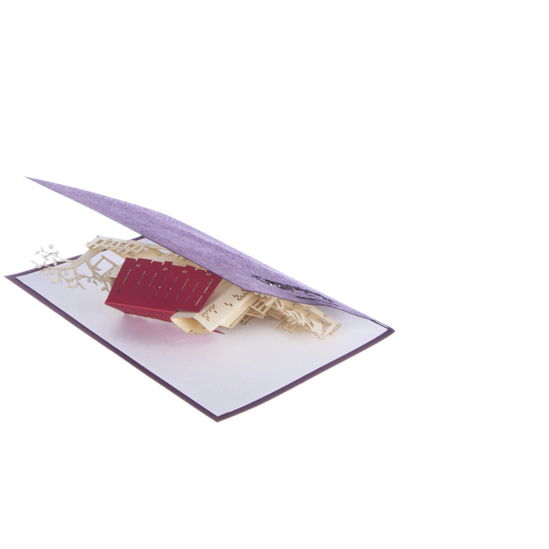image of new home congratulations pop up card slightly open at 45 degrees on a white background