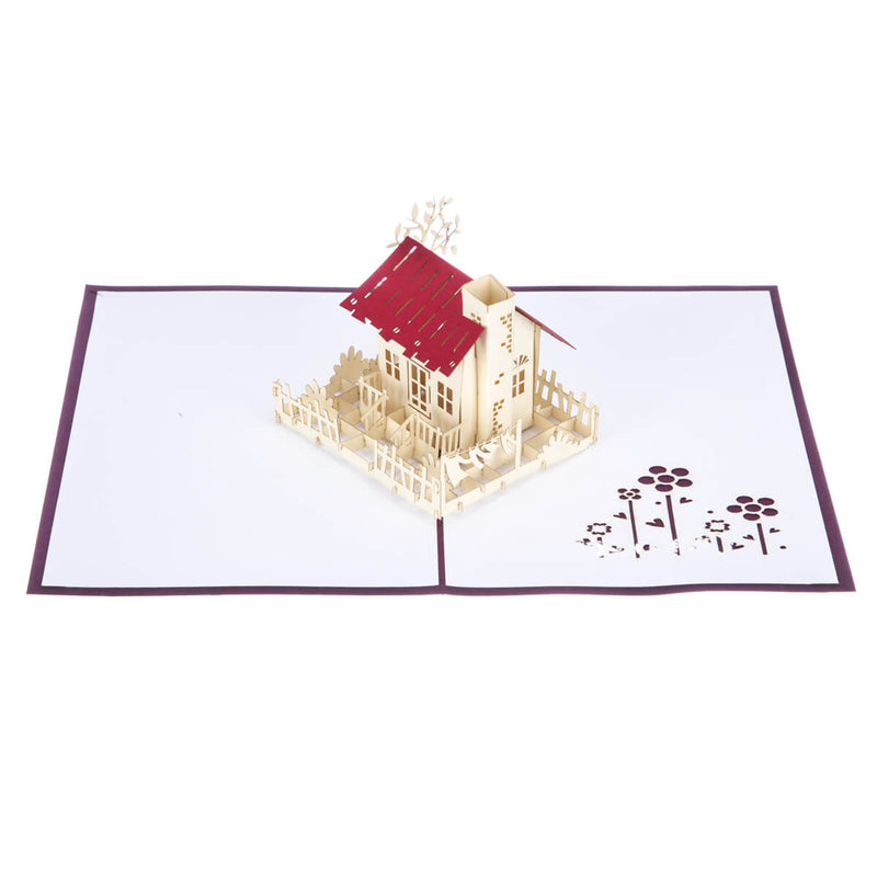 image of new home congratulations pop up card fully open