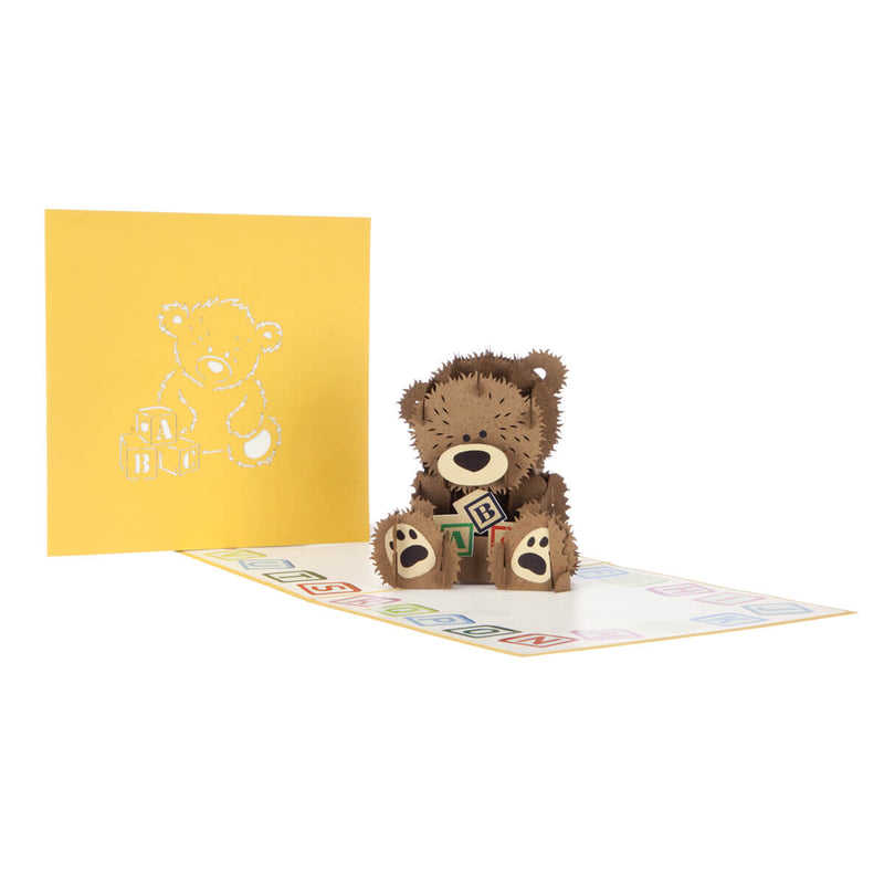 new baby bear pop up card fully open with cover behind it