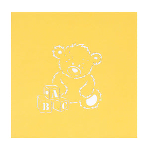 New baby bear pop up card yellow cover