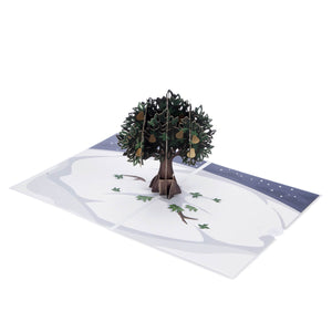 Partridge In A Pear Tree Pop Up Card For Christmas. Card Fully Open at 180 Degrees on White Surface