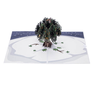 Partridge In A Pear Tree Pop Up Card For Christmas. Fully Open View From Above