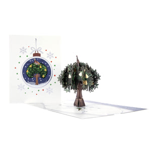 Partridge In A Pear Tree Pop Up Card For Christmas. Card Fully Open With Cover Behind