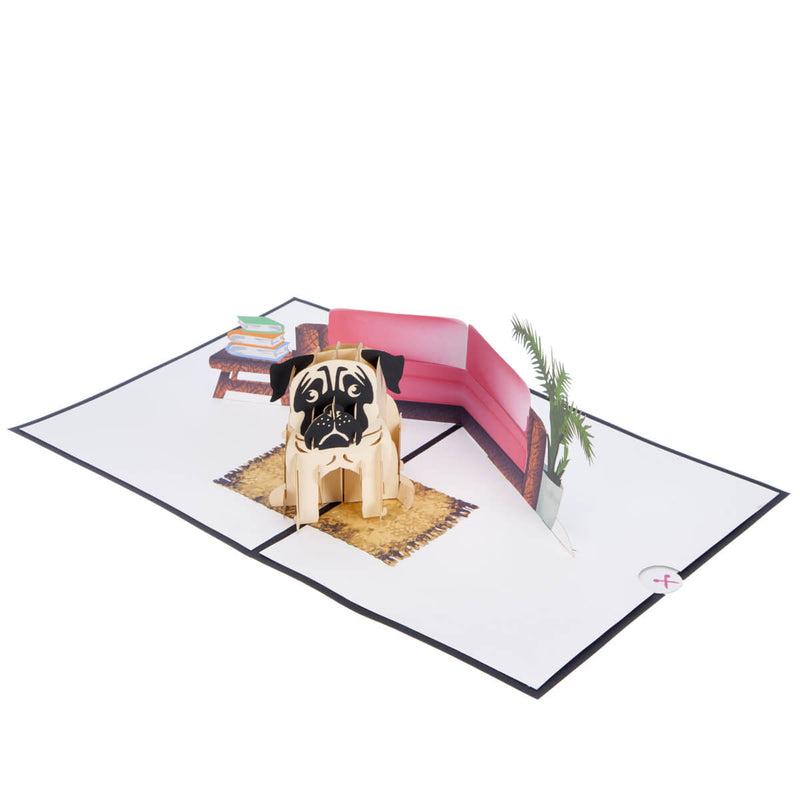 image of pug pop up card fully open at 180 degrees on a white surface
