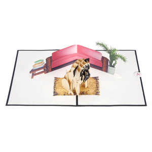 image taken from above of pug pop up card fully open