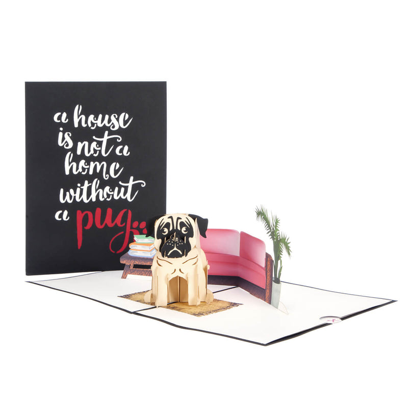 image of pug pop up card fully open with cover behind