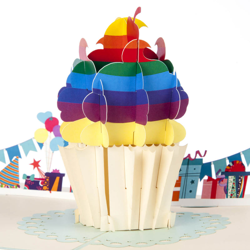 Close up image of Rainbow Cupcake Pop Up Card