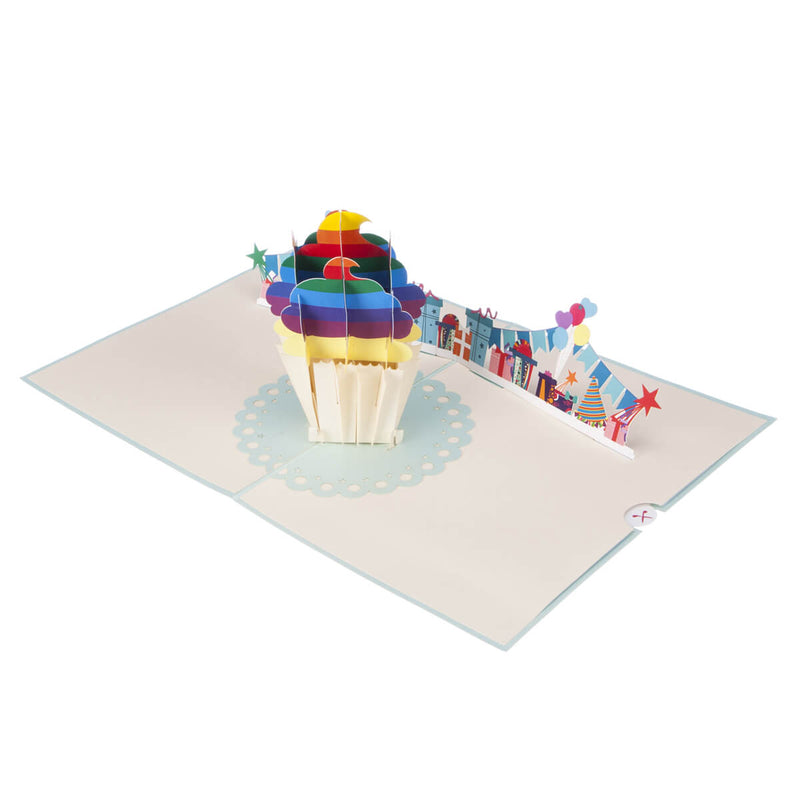 Image of Rainbow Cupcake Pop Up Card fully open at 180 degrees on white surface