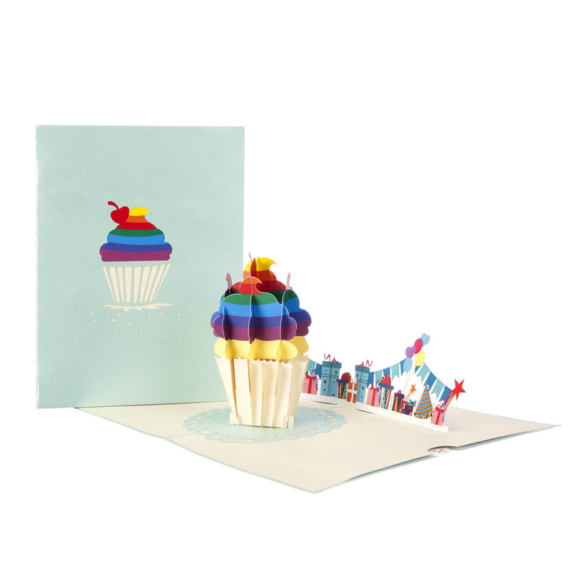 Image of Rainbow Cupcake Pop Up Card fully open with cover behind