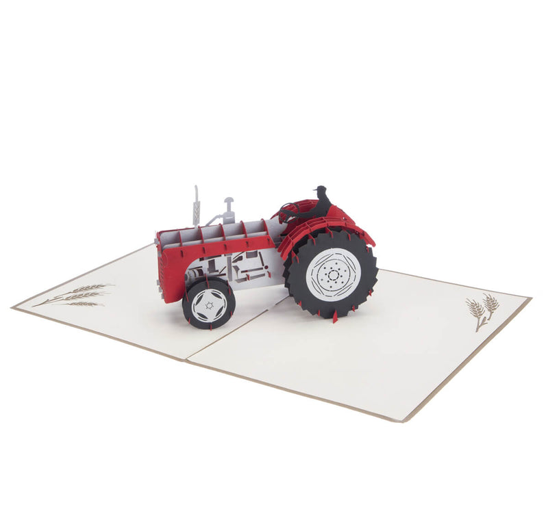 Red Vintage Tractor Pop Up Card