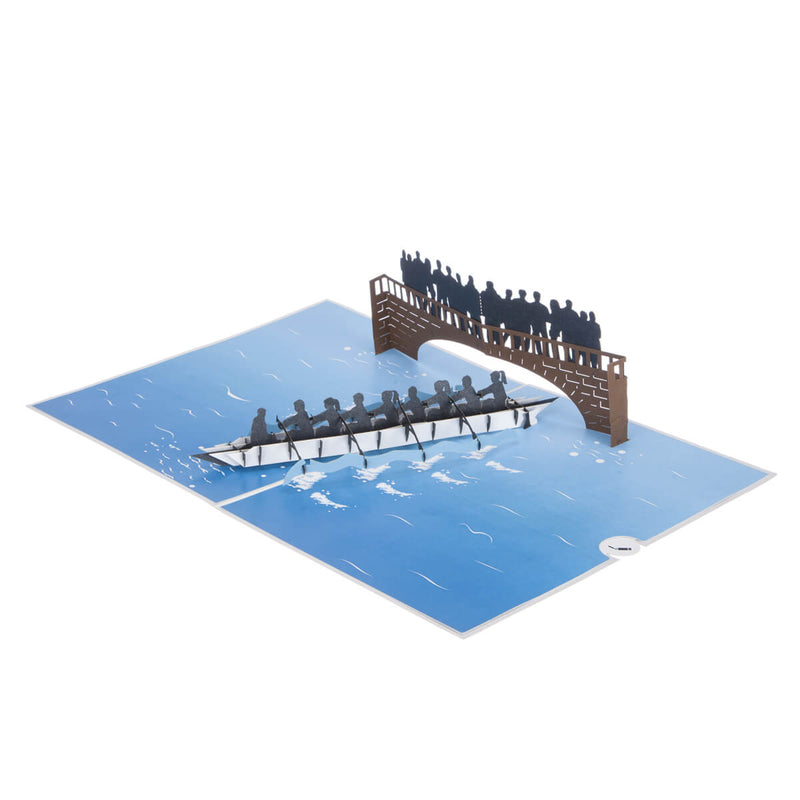 Rowing Pop Up Card - 8 Rowers Men and Women - Fully Open 180 Degrees On White Background