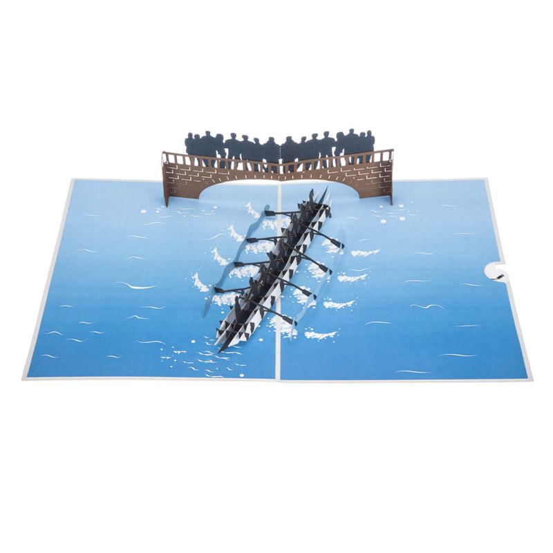 Rowing Pop Up Card - 8 Rowers Men and Women - Fully Open View From Above