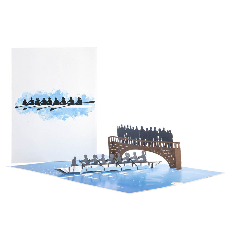 Rowing Pop Up Card - 8 Rowers Men and Women - Card Fully Open With Card Cover