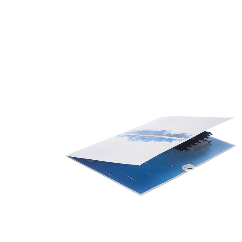 Rowing Pop Up Card - 8 Rowers Men and Women - Slightly Open 45 Degrees On White Background