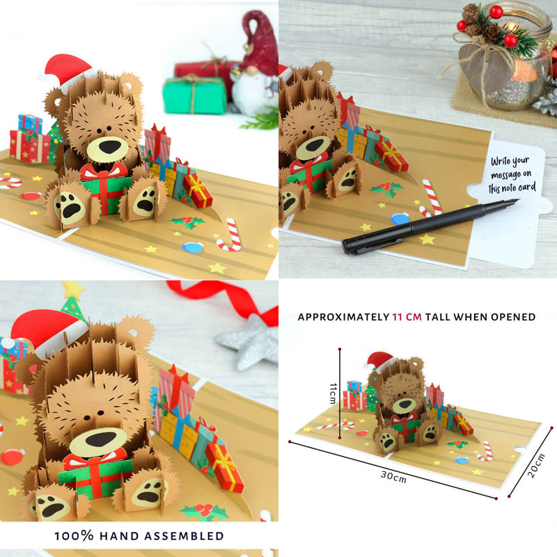 Santa Bear Christmas Pop Up Card - Christmas Card Pack of 6